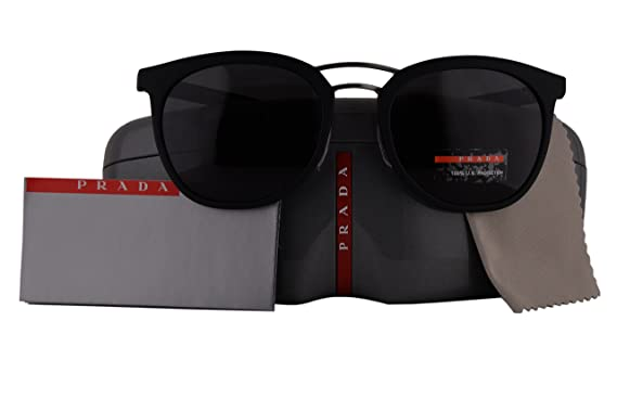 45a484c38dfe Prada Authentic Sunglasses PS04SS Black Rubber w Grey Lens DG05S0 SPS04S ( 54mm)  Amazon.co.uk  Clothing