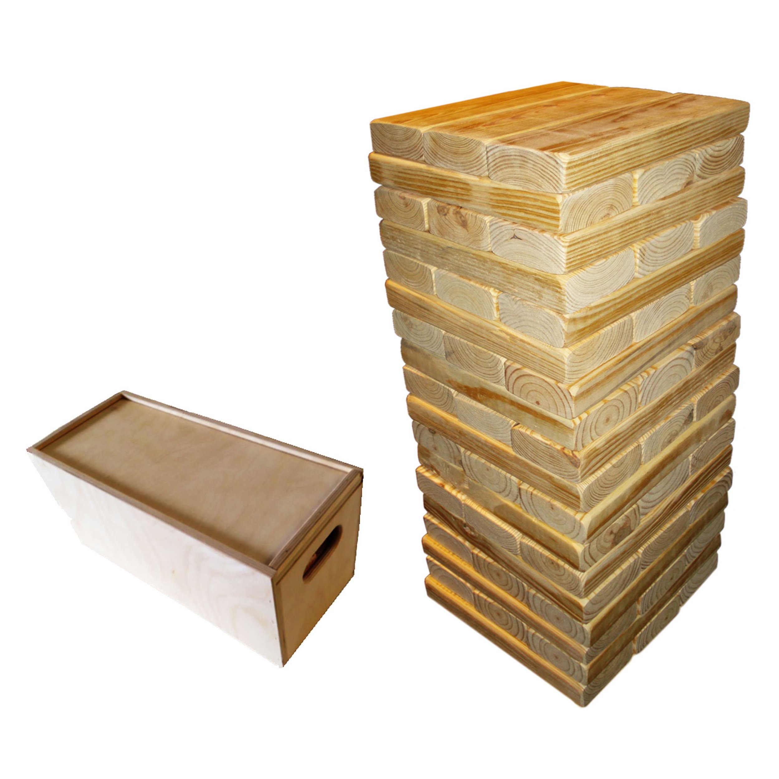 Harvil Jumbo 54-Piece Wooden Tumbling Tower with Wooden Case