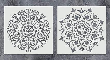 amazon com gss designs pack of 2 mandala stencils set 12x12 inch