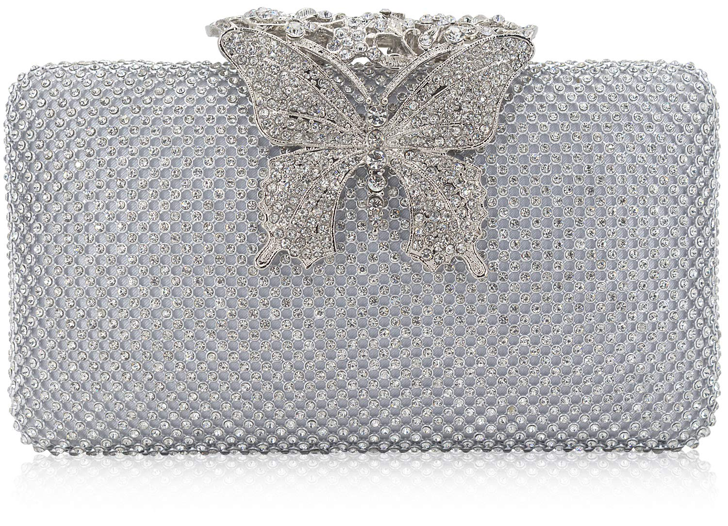 Dexmay Rhinestone Crystal Clutch Purse Butterfly Clasp Women Evening Bag for Formal Party Silver by DEXMAY DM (Image #1)