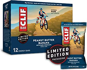 CLIF BARS - Energy Bars - Peanut Butter Banana with Dark Chocolate - Made with Organic Oats - Plant Based Food - Vegetarian - Kosher (2.4 Ounce Protein Bars, 12 Pack) Packaging May Vary