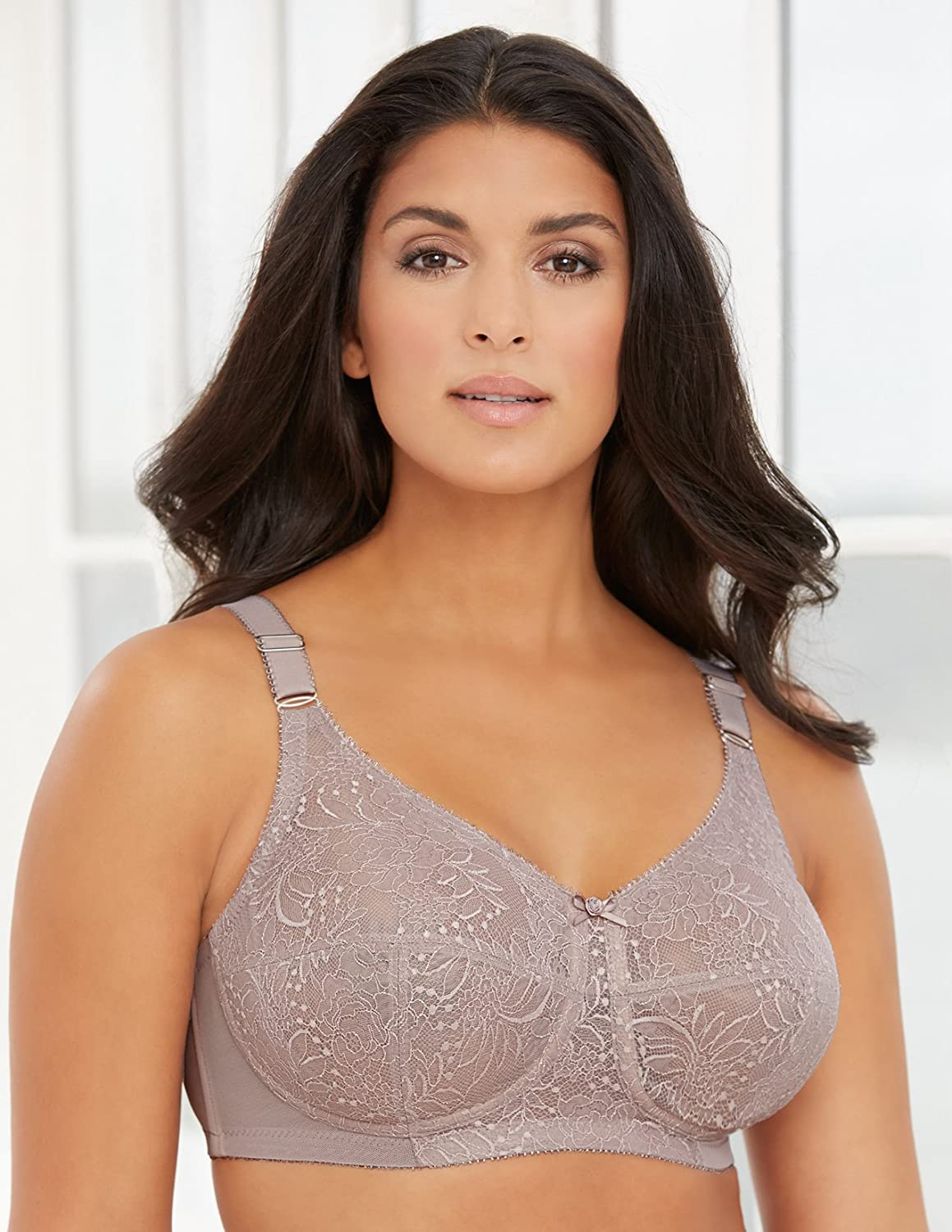 Glamorise Womens Full Figure ComfortLift Lace Wirefree Support Bra #1102