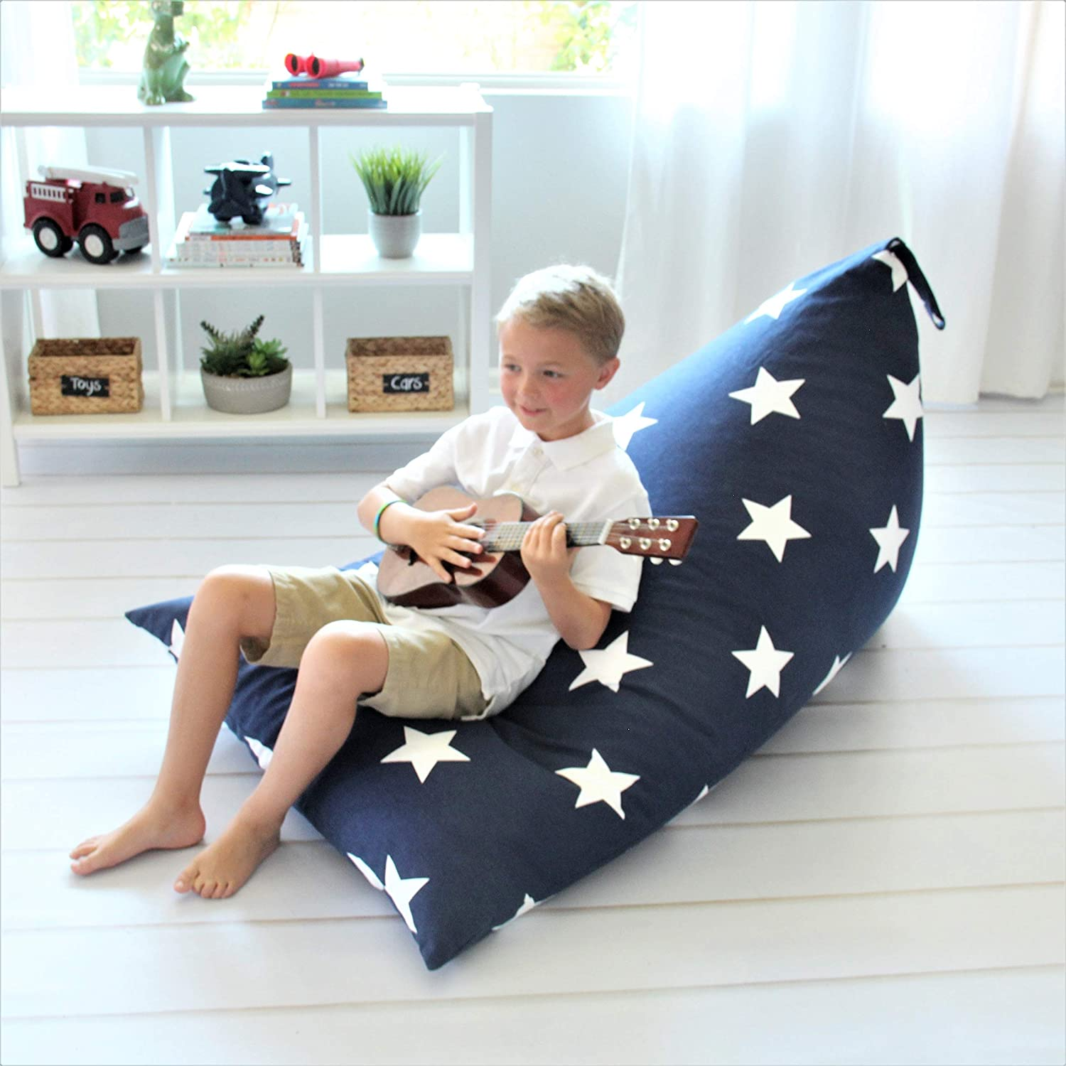 Butterfly Craze Stuffed Animal Storage Bean Bag Chair - Stuff 'n Sit Toy Bag Floor Lounger for Kids, Teens and Adult |Extra Large 200L/52 Gal Capacity |Premium Cotton Canvas (Navy)