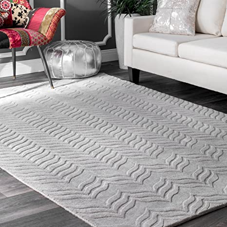 Amazon Com Nuloom Lundberg Hand Woven Wool Rug 7 6 X 9 6 Grey Home Kitchen