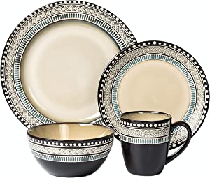 Lorren Home Trends Glazed Dinnerware Set, Bue