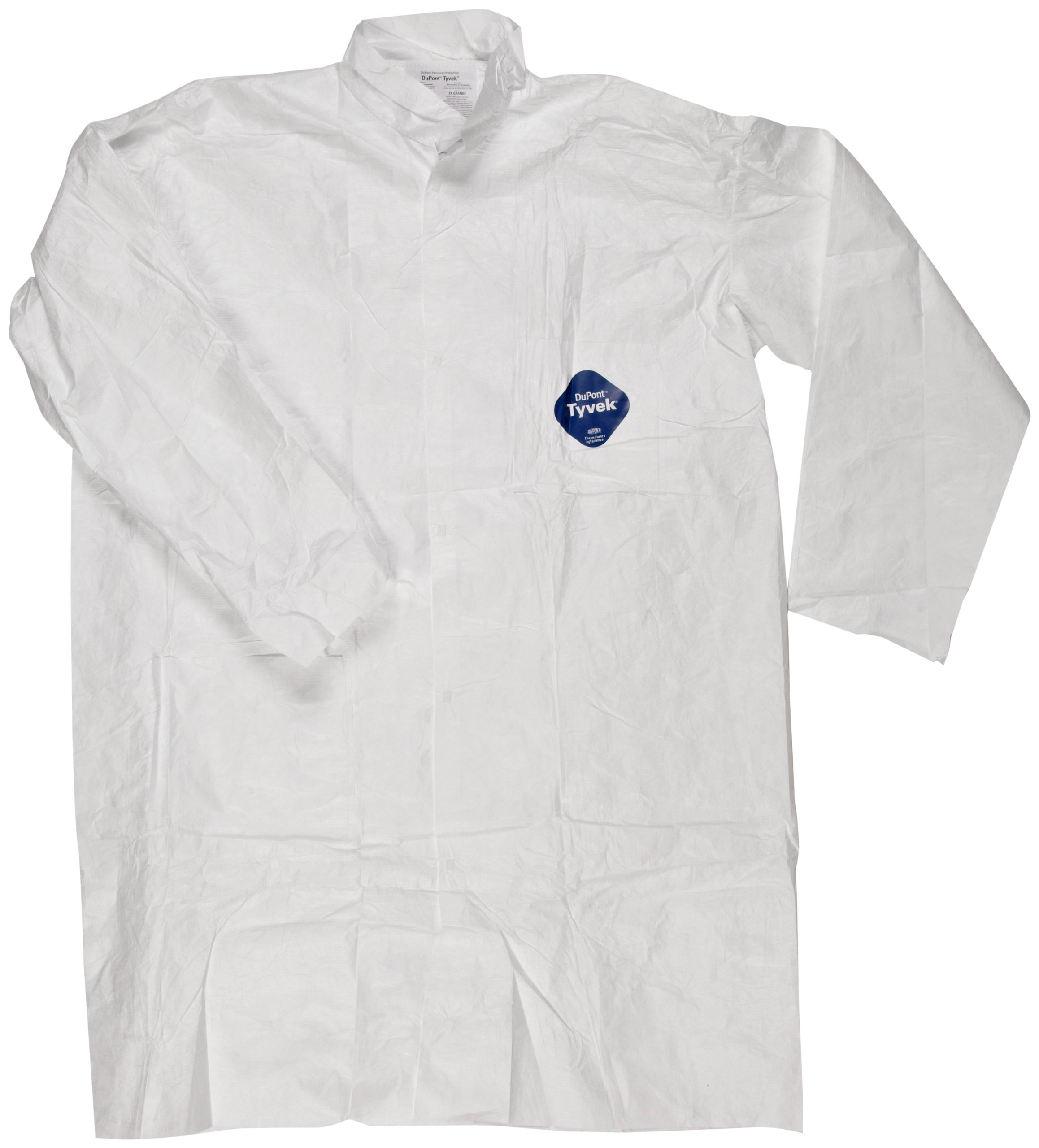Magid C115XXL EconoWear Tyvek Disposable Lab Coat with Collar and Two Patch Pockets, 2XL, White  (Case of 30)