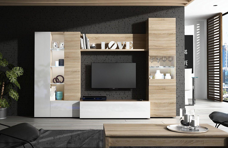 Habitdesign 016642F - Mueble de comedor con leds, acabado en Blanco ...