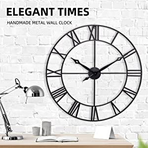 Infinity Time & Co Large Wall Clock, 30Inch European Retro Vintage Clock with Roman Numerals, Indoor Silent Non-Ticking Battery Operated Metal Clock for Home, Bedroom, Living Room -Classic Matt Black
