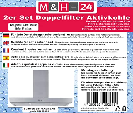 M&H-24 Filtro Campana Extractora Universal con Carbón Activo - Juego de Filtro de Carbono Activo y de Grasa, Filtro Universal para Cualquier Tipo de Campana, 57 x 47 cm, 2 Piezas: Amazon.es: Hogar