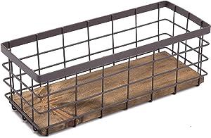 Metal Wire Storage Basket, Detachable Wood Base Storage Organizer Bin Basket for Kitchen Cabinets, Bathroom, Pantry, Garage, Laundry Room - Brown