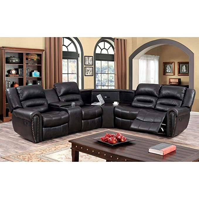 Amazon.com: Furniture of America Torrell Dark Brown Leather ...