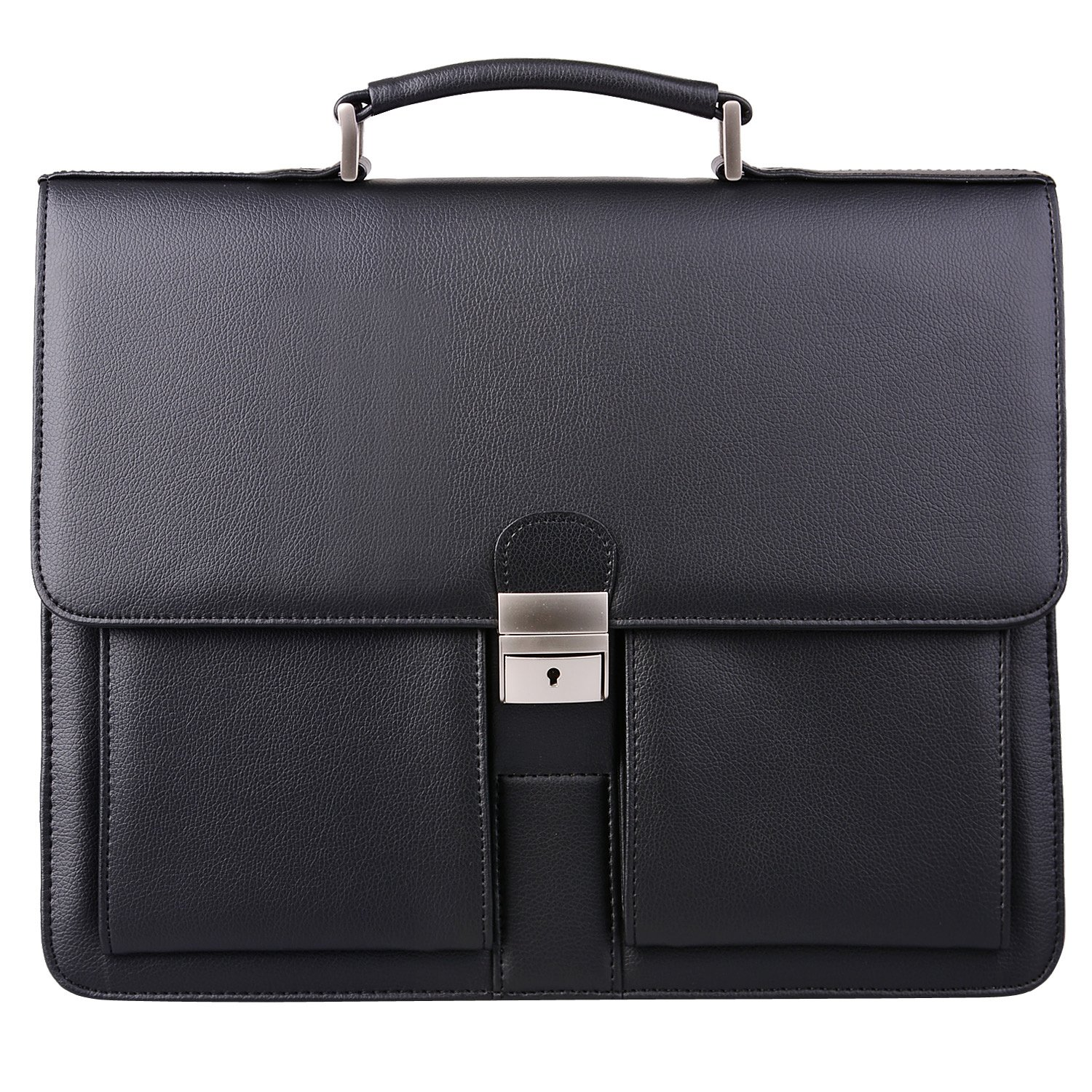 Jack&Chris Mens New PU Leather Briefcase Messenger Bag Laptop Bag, MBYX015 (Black)