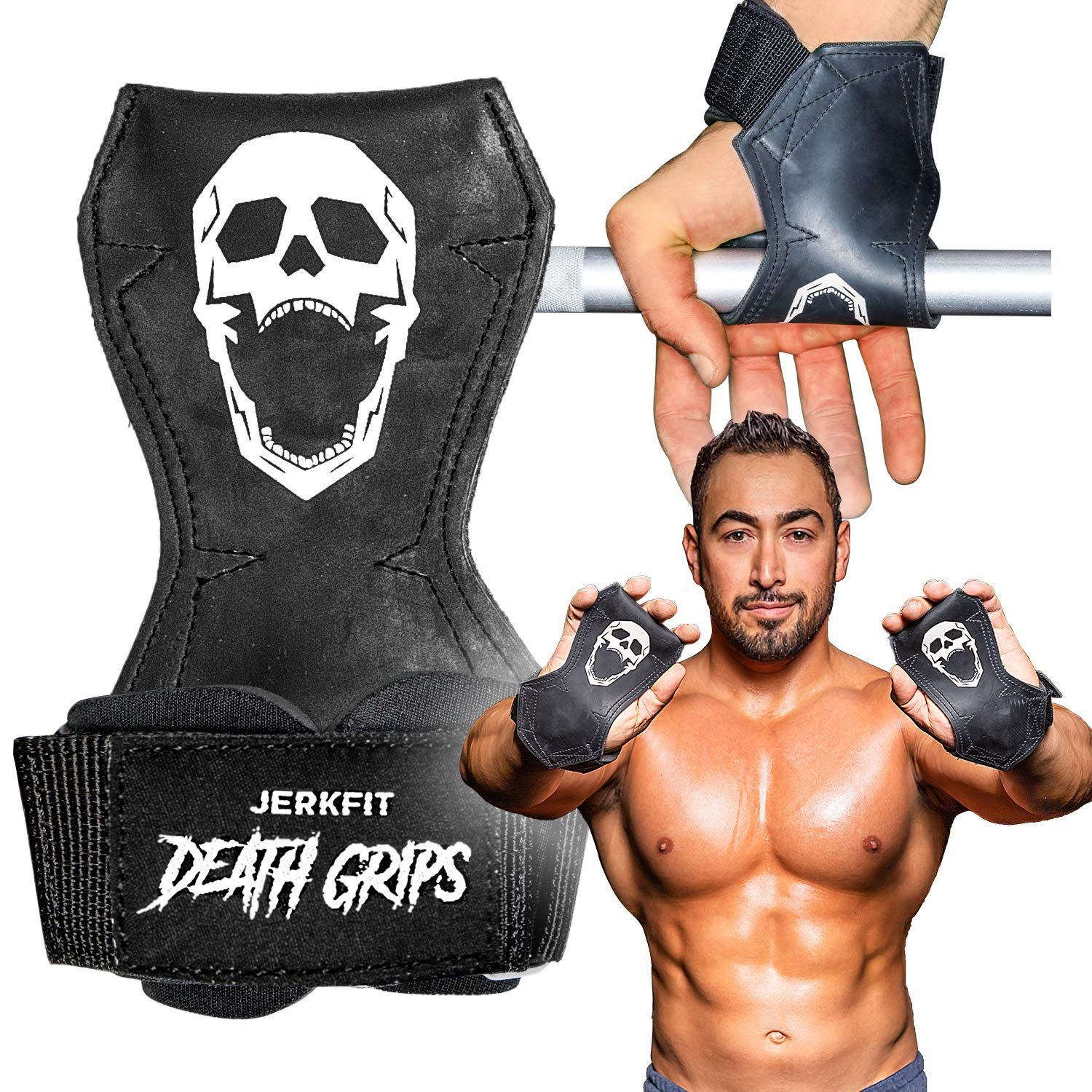 JerkFit Death Grips, Ultra Premium Lifting Straps for Dead Lifts, Pull-UPs, and Heavy Shrugs (Medium)