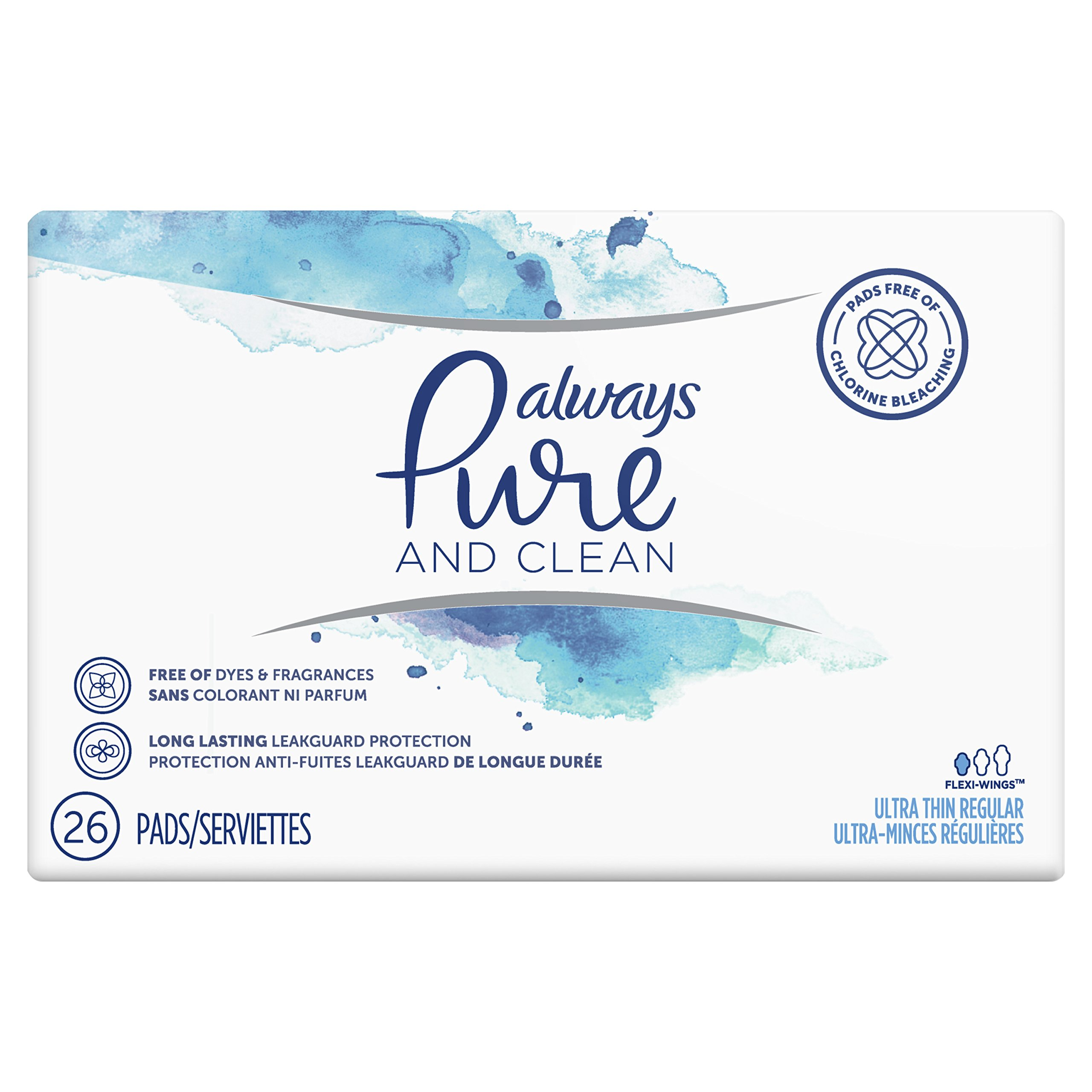 Always Pure & Clean, Ultra Thin Feminine Pads for Women, Regular Absorbency, with Wings, Unscented, 26 Count- Pack of 3 (78 Count Total) by Always