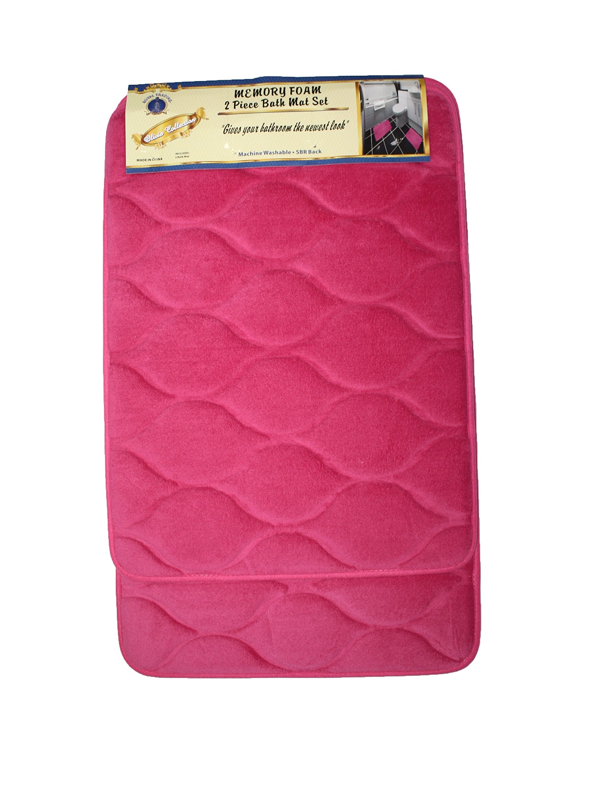 2 Piece Elegant Memory Foam Bath Mat Set, Extra Soft and Anti Slip Backing Luxury Bath Rugs (Hot Pink)