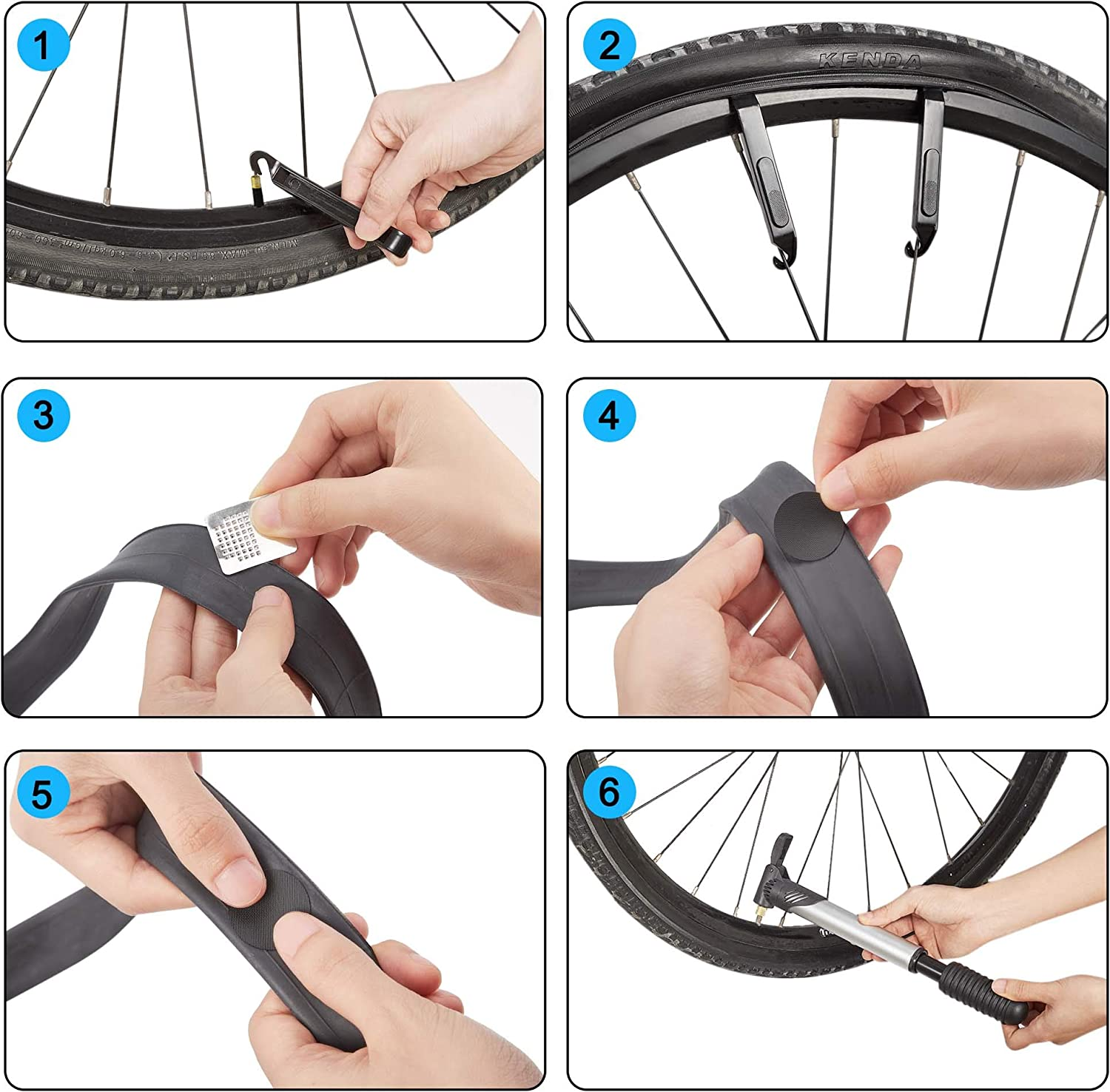 TOMALL Portable Bike Repair Tools Kits Inner Tube Patch Bicycle Repair Patch Puncture Emergency Tire Fix Kit