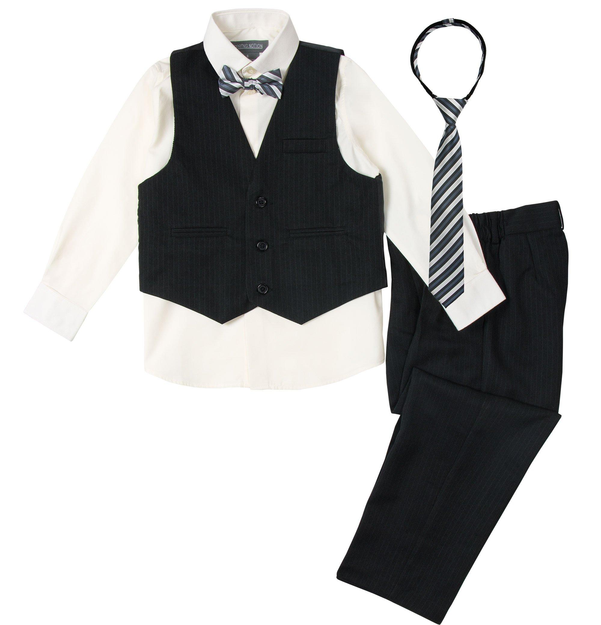 Spring Notion Big Boys' 5 Piece Pinstripe Vest Set Black-Ivory-B 5