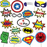 Party Propz Super Man photo Booth Party Decoration (Multicolour, SUPPO03) - Pack of 16