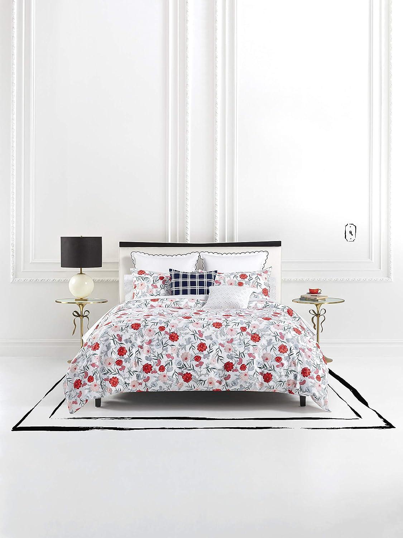 Kate Spade New York Blossom Twin Duvet Set Bedding, White/Red/Pink