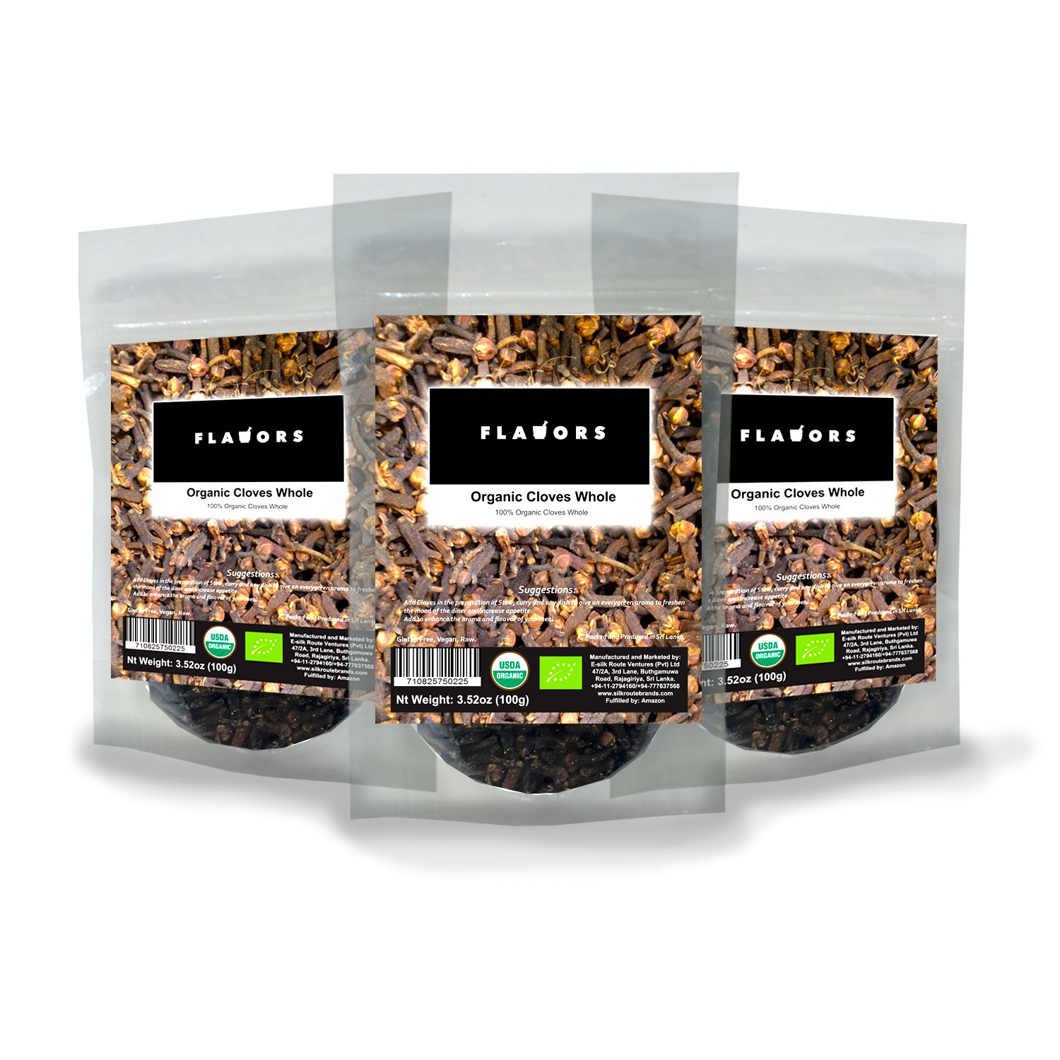 100% Organic Cloves Whole 300g USDA Certified - (100g x 3 Re-zippable Stand-Up Pouch!)