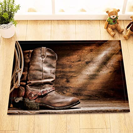 Amazon Com Lb Old Rustic Western Cowboy Boots On Barn Wood Plank