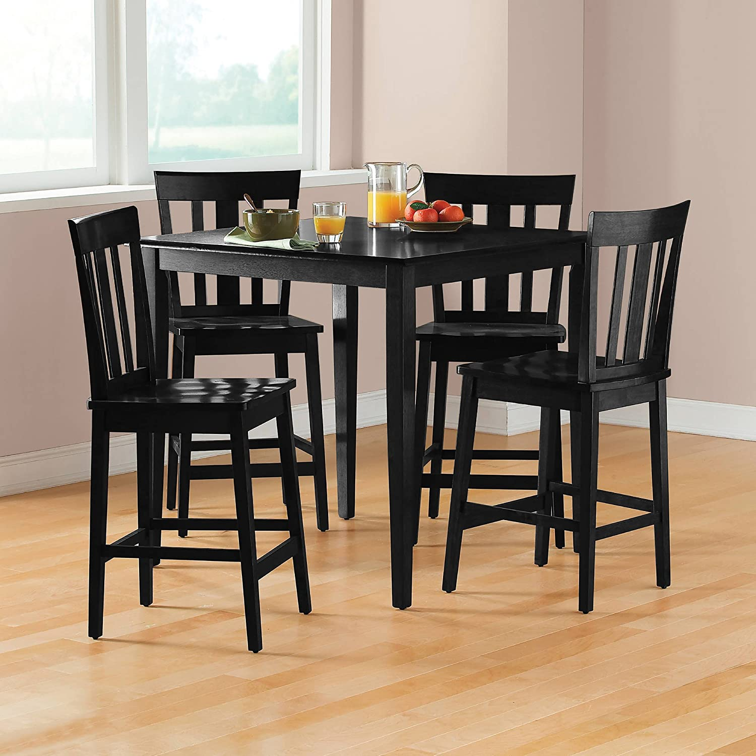Amazon com mainstays 5 piece counter height dining set black finish table chair sets