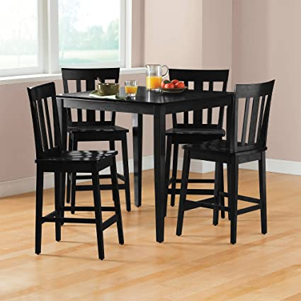 Amazoncom Mainstays 5 Piece Counter Height Dining Set Black