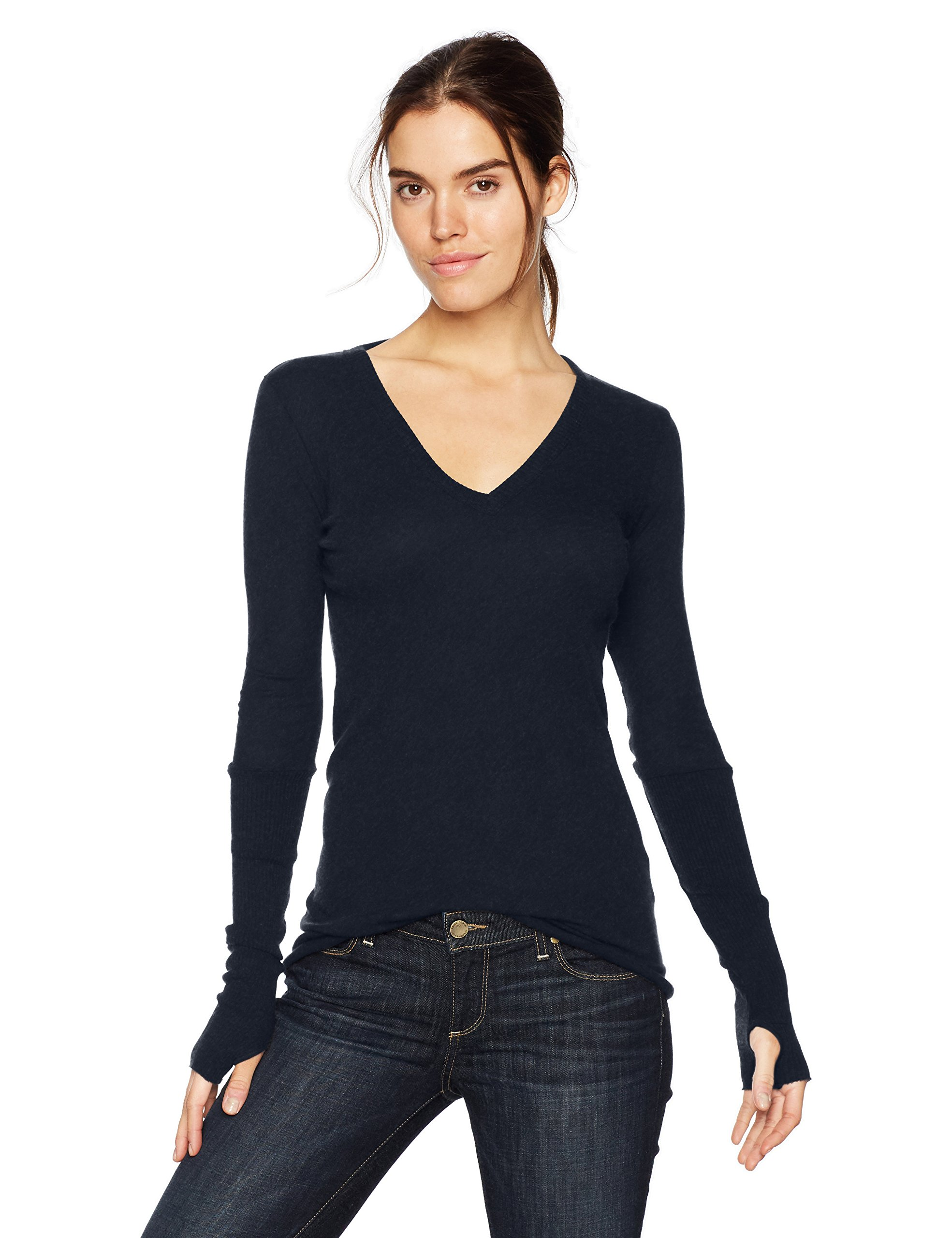 Enza Costa Women's Cashmere Long Sleeve Cuffed V-Neck Top With Thumbhole, Cadet, M