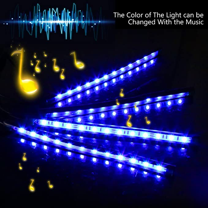 ZISTE LED Car Interior Lights,Multi Color Floor Neon Atmosphere Lamp With Music Control