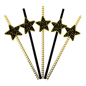 'Stars' Black and Gold Striped Paper Party Straw Decor - Set of 24 Classy, Decorative, Biodegradable Party Straws