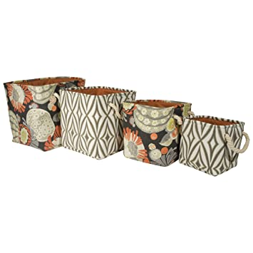 waverly set of four printed canvas storage bins with rope handles open storage bins - Decorative Storage Bins