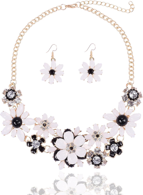 Gorgeous Pastel Color Pendant Flower Gold Bib Style Necklace