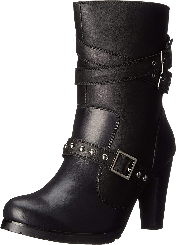 Ad Tec Womens 10 in High Heel Three Buckle Leather Motorcycle Boots, Black - Side Zipper & Adjustable Vamp