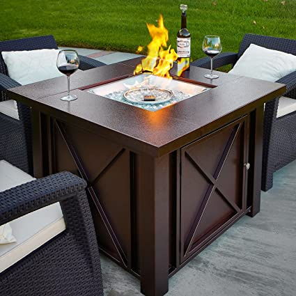 XtremepowerUS Out Door Patio Heaters LPG Propane Fire Pit Table Hammered  Bronze Steel Finish, Deluxe
