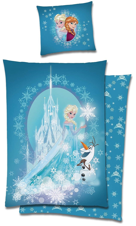 Die Eisk/önigin Frozen Bettw/äsche 135x200 cm Anna ELSA Olaf blau Biber Baumwolle