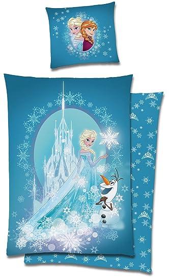 Die Eiskönigin Frozen Bettwäsche 135x200 Cm Anna Elsa Olaf Blau
