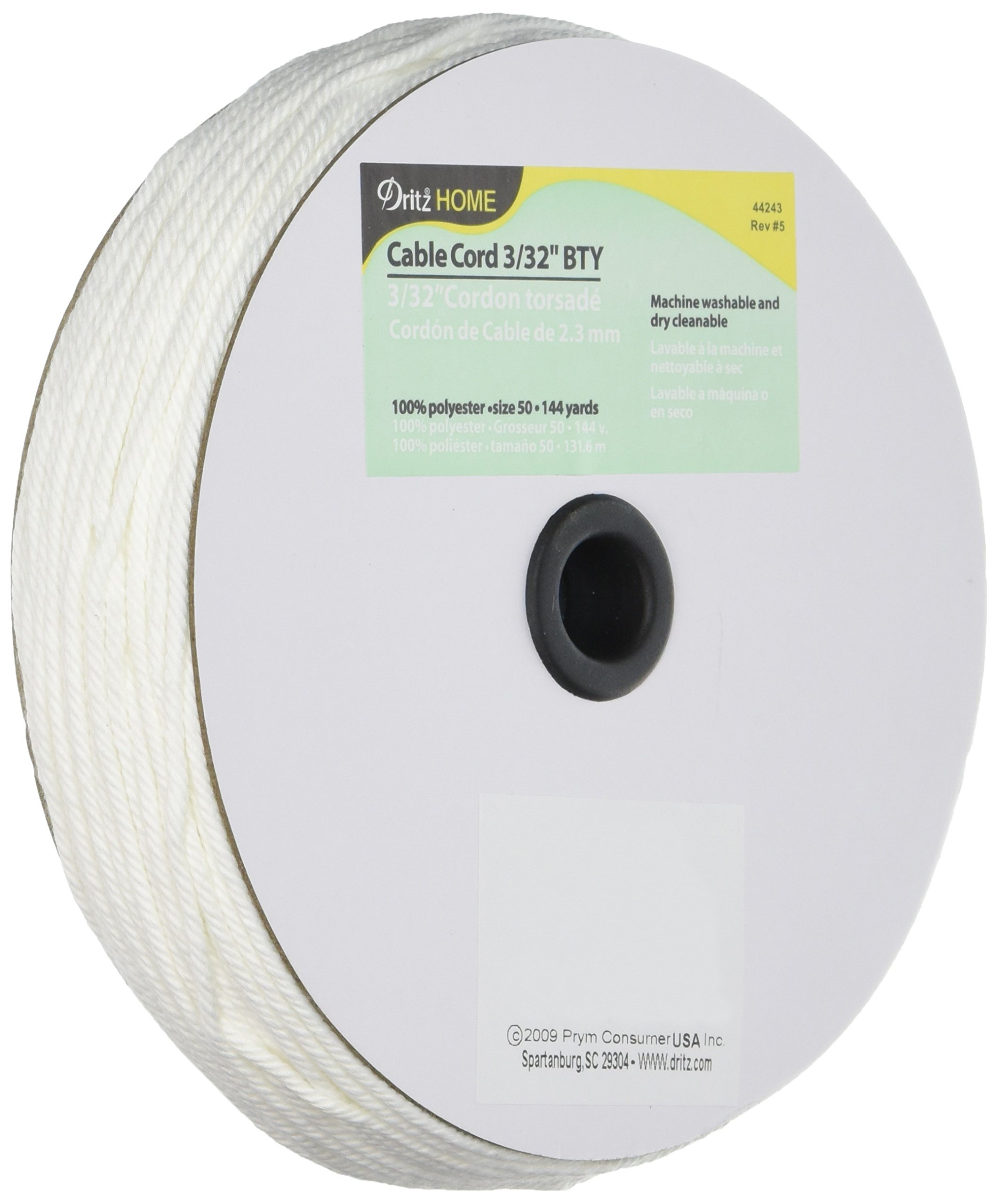 Dritz Home Cable Cord Cut-to-Size 3/32'' X144yd, White by Dritz