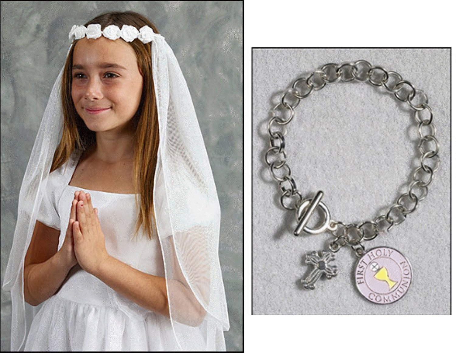 Girls First Holy Communion Veil with Flower Tiara and Free First Communion Bracelet