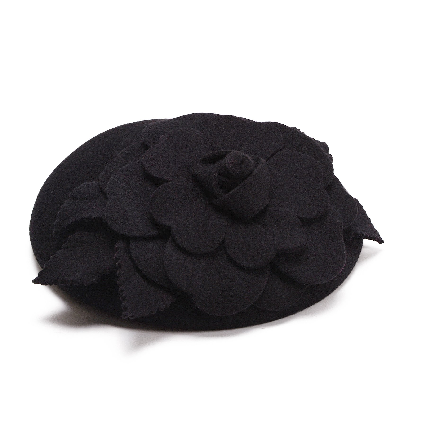Flower Womens Dress Fascinator Wool Pillbox Hat Party Wedding A083 (Black) by Lawliet