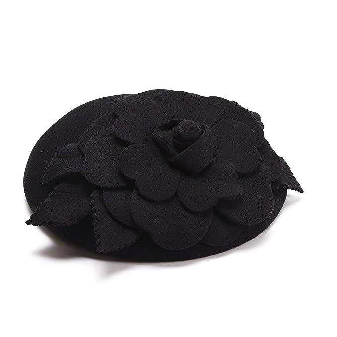 fed5567f548 Flower Womens Dress Fascinator Wool Pillbox Hat Party Wedding A083 (Black)