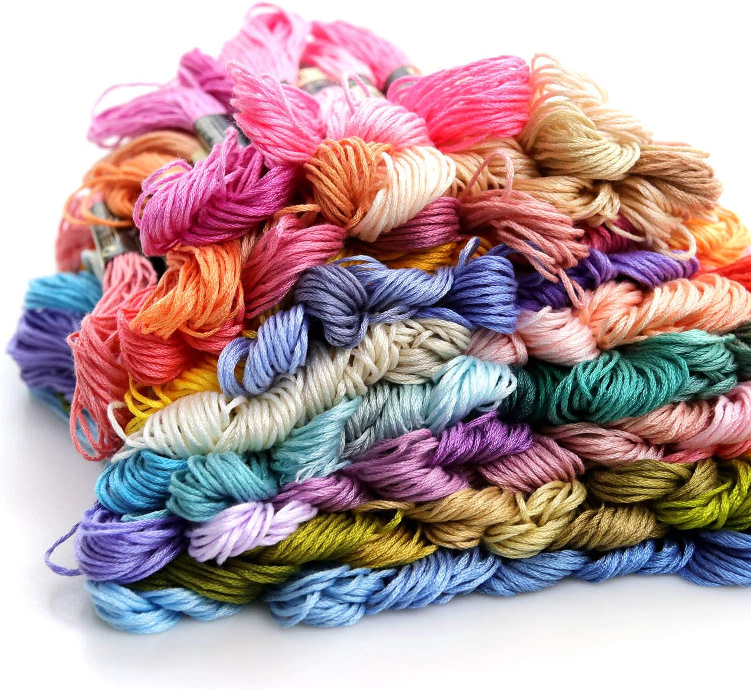 LOVIMAG Premium Rainbow Color Embroidery Floss with Cotton for Cross Stitch Threads Bracelet Yarn Embroidery Floss Set Craft Floss