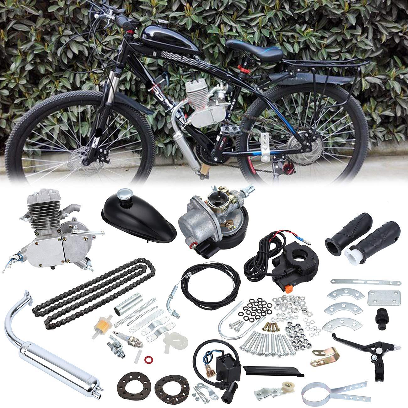 Sange Kit de conversió n del motor de gasolina y gasolina del ciclo del pedal de 2 tiempos Kit de motor motorizado de refrigeració n por aire para bicicletas motorizadas (Plata, 50cc)