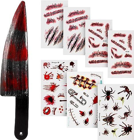 Outus Cuchillo Sangriento Halloween Cuchillo Falso con 7 Hojas ...