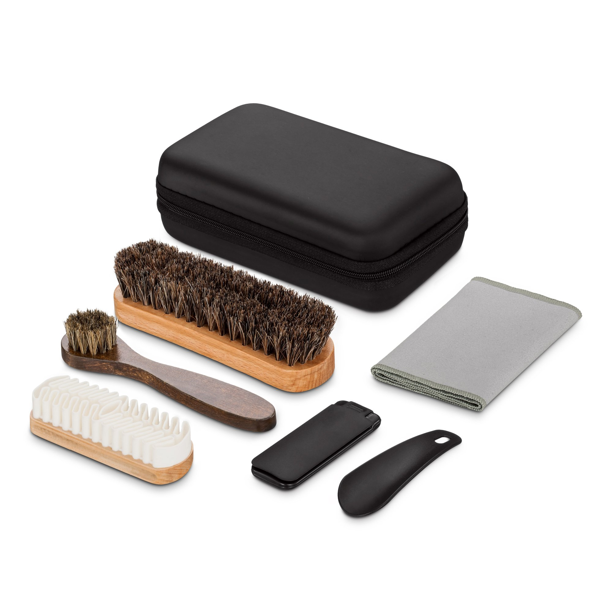 Shoe Brush Kit & Valet With Soft Horsehair Bristles & Rubber for Shoes, Dauber, Suede, Nubuck- 6 Pieces