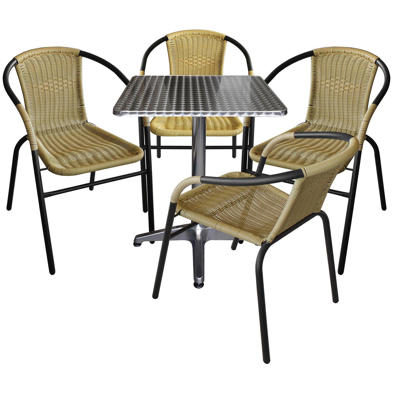 5er Set Gartenmöbel Aluminium Bistrotisch 60x60cm Klappbar 4x