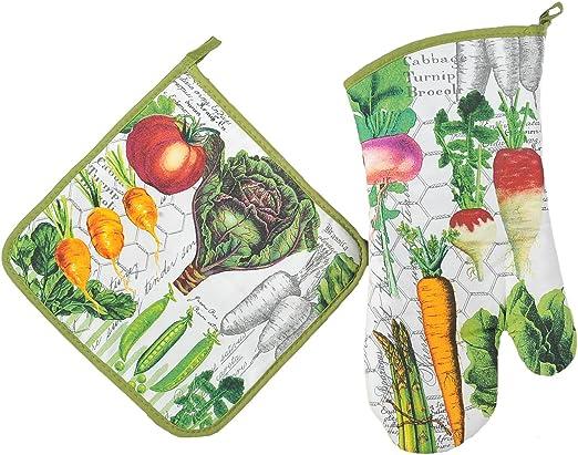 NEW Michel Design Works Cotton Kitchen Oven Mitt Vegetable Kingdom