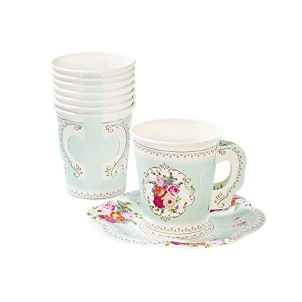 252c2666eb2 Amazon.com: Talking Tables TS6-CUPSET Disposable Truly Scrumptious Party  Vintage Floral Tea Cups and Saucer Sets, Mint Green: Kitchen & Dining