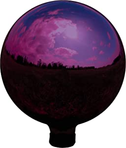 Sunnydaze Merlot Garden Gazing Globe Ball, Outdoor Lawn and Yard Glass Ornament, Reflective Mirrored Surface, 10-Inch