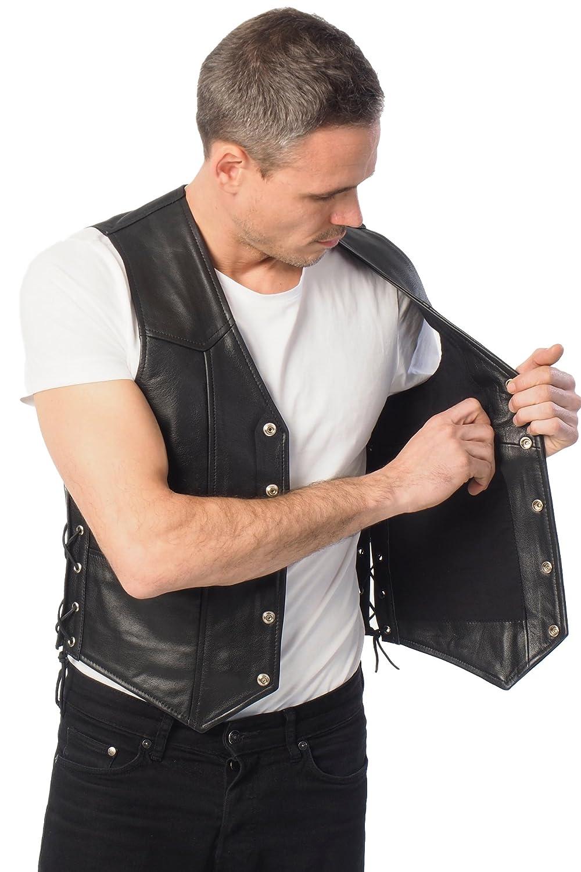 3XL Bohmberg Premium Chaleco de cuero de alta calidad pesado y fuerte 100/% Cuerol-liso-con cadenas laterales