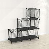 SIMPDIY estanteria Modular Malla Almacenamiento, librería Armario 6 Cubos,…